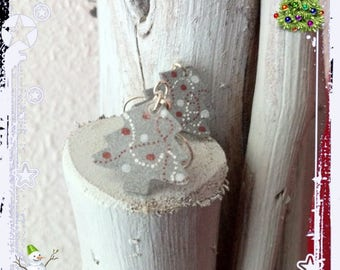 Earrings 'trees' plastic shrink silver decorated