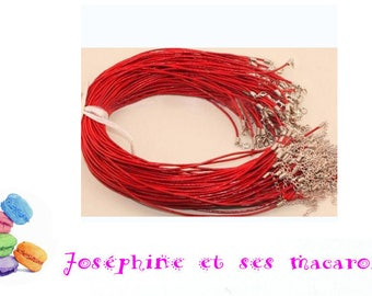 Red 1 necklace 46 cm faux leather