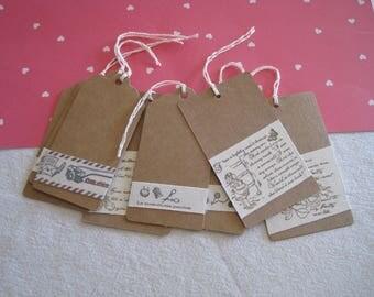 Set of tags, kraft paper, Ribbon, writing, sewing, girl, flowers
