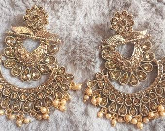 Indian Jewelry, Jhumka, Indian Earrings, Bollywood Jhumka, Ethnic Jewelry , Chandbali Earrings, Kundan Polki Earrings, Gold Jhumki USA