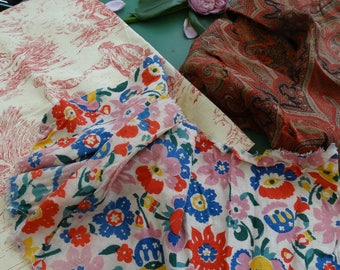 Set of vintage fabric. Vintage set of fall fabrics. fabric French toile de jouy, cashmere, linen print on fabric set of fabrics for patchwork