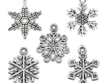 5 charms - silver snowflake star of snow Christmas 19 x 16-25x19mm - SC11040