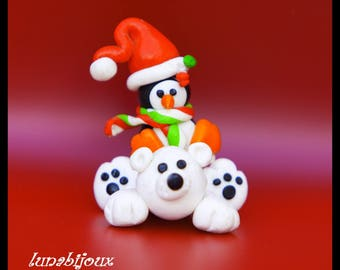 Special Christmas: hanging Father Christmas and snowman in polymer clay