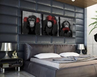 Painting on canvas triptych the 3 monkeys 3 x (30 x 40)