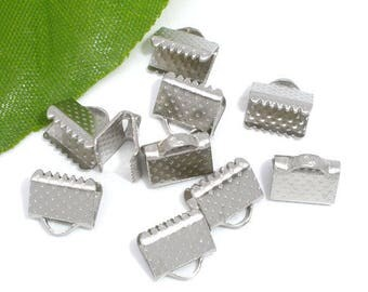 20 lobster clasps 8x6mm Silver Ribbon crimps