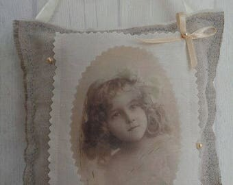 """Decorative pillow for home - old Photo """"The little girl"""""""