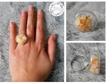 Plumeria flowers glass dome ring