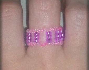 Ring with square beads