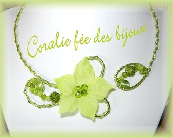 Silk flower and green beads necklace