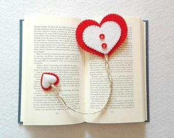 segnalibro a cuore in feltro  bookmark in heart felt