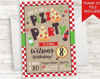 Pizza Party Invite Invitation Birthday Kids Digital ANY AGE 5x7 Italian Girls Boys Soda Parlor