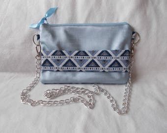 Blue faux Pearl and cotton bag/pouch wedding chart