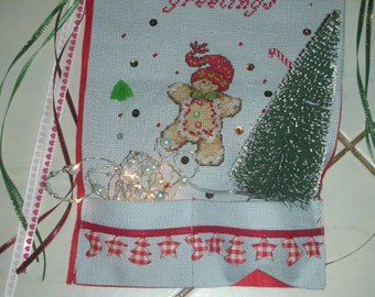 Gingerbread Christmas red and blue banner