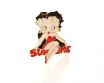 Cute dangling Betty Boops metal enamel pins brooch