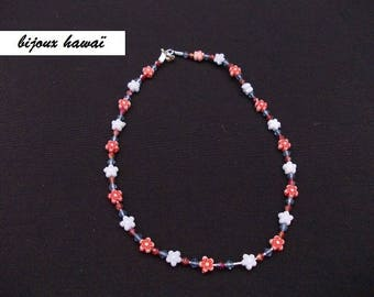 Red & blue child kids necklace