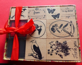 box of 8 stamps in wood and 2 ink red and black bird Butterfly