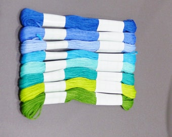 8 skeins yarn embroidery in shades of blue and green