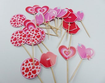 24 food pics and paper heart lips mouth red spike studs
