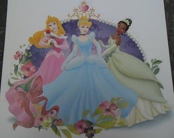 Sticker wall glitter princesses Tiana Aurora Cinderella