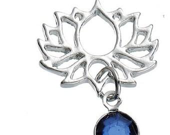 lotus flower connector hollow rhinestone blue 25mm x 18mm