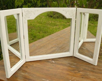 Taupe white weathered wood and floral pattern dressing table mirror