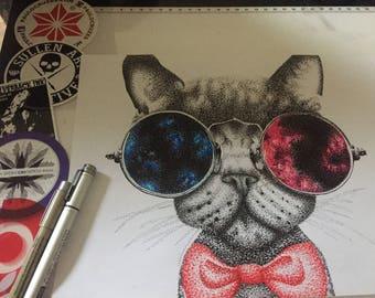 Dotwork cat (pointillism)