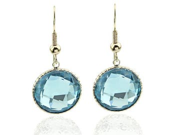 14K Yellow Gold Handmade Gemstone Earrings With 16 MM Round Blue Topaz Gemstones