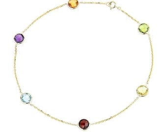 14k Yellow Gold Anklet Bracelet With 6mm Fancy Cut Round Gemstones 9 - 11 Inches