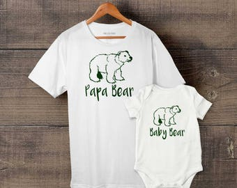 Papa Bear, Baby Bear - Dad Father Son/Daughter matching T-shirt Babygrow, 100% Cotton, FREE Delivery, Father's Day, Toddler, Baby shower