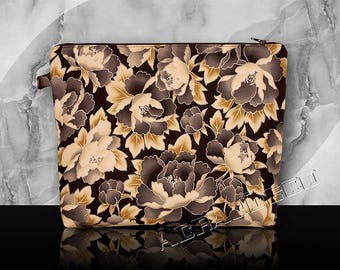 Clutch purse toiletries or makeup or toiletry travel-flowers and leaves - peonies gray Dove steel/amber/white/gray/yellow