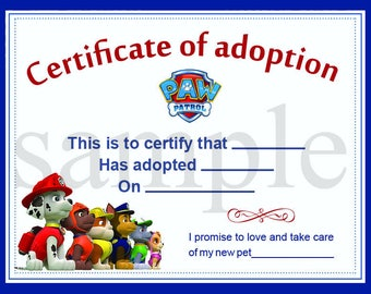 Adoption certificate etsy paw patrol adoption certificate printable digital graphic pet diploma adoptions puppies instant download yadclub Gallery