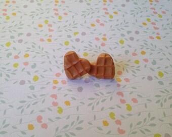 Earrings, polymer clay heart waffles
