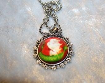 Santa Claus cabochon neck chain