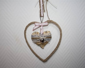 heart Ribbon and linen rope