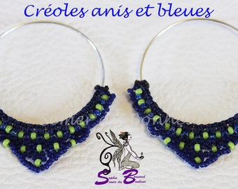 "Creoles ""Semer of music"" in blue and lime green"
