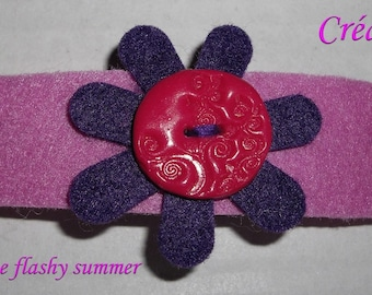 Kids hair flower made of felt and synthetic button