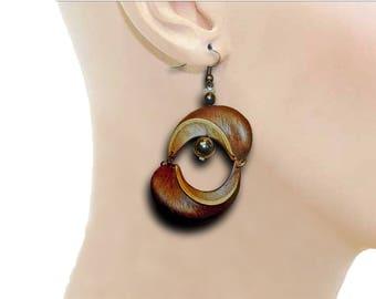 Earrings Double carpel hematite/carnelian