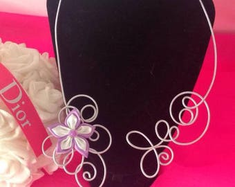 Silver purple satin flower white fashion necklace