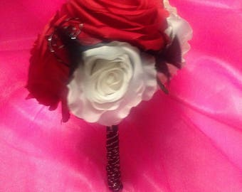 Artificial bouquet handmade red black white