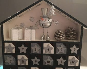 Black and silver wooden perpetual advent calendar