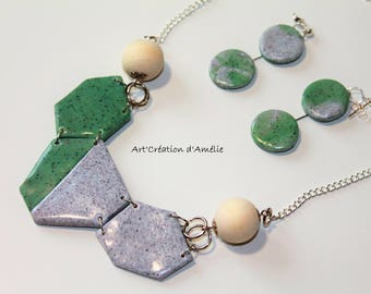 Ornament style Nature necklace and earrings