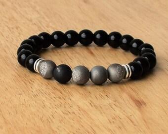 Men's Beaded Bracelets, Men's Bracelet, Men's Energy Bracelet, Druzy Agate Bracelet Men, Onyx Bracelet, Gemstone Bracelet, Men Bracelet Gift