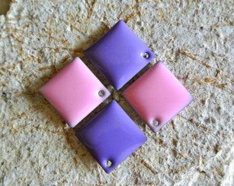 Set of 4 sequin Argyle Pink/Purple epoxy enamel, 18 mm, glazed on both sides