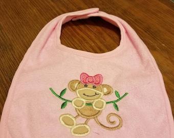 Pink Monkey Bib
