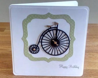 Penny Farthing bicycle birthday card, greeting card, male card
