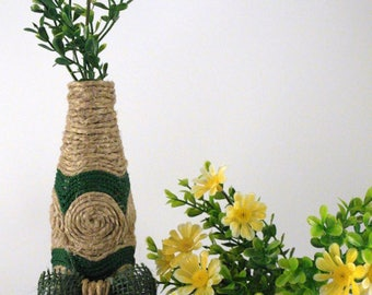 Glass flower vase mono-and hemp ropes natural and green nylon upcycling