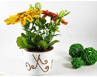 Concrete decorative vase with crocheted gerberas, home decor