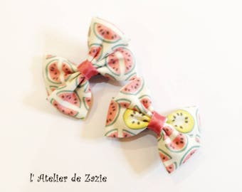 Hair clip double bias bow with white cotton printed pateques X 2