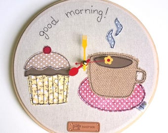 Good morning wall clock on embroidery frame
