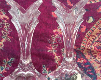 Vintage Crystal Candleholders, Candlesticks, Mikasa, Art Deco